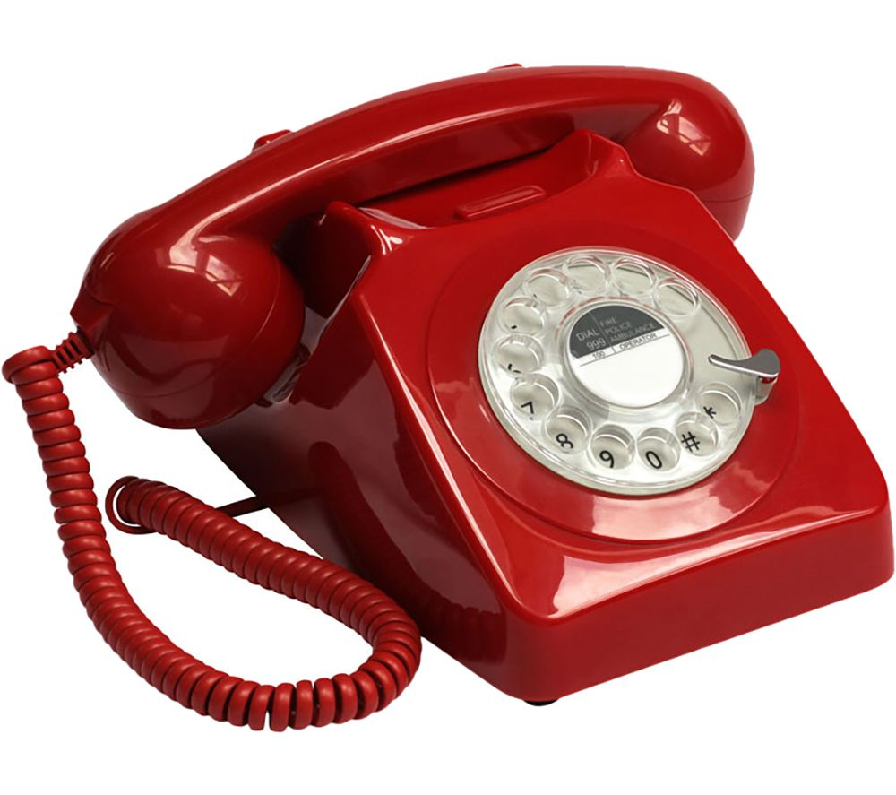 GPO 746 Rotary Corded Phone - Red