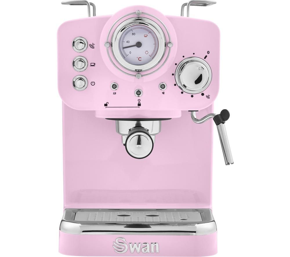 SWAN Retro Pump Espresso SK22110PN Coffee Machine - Pink, Pink