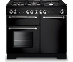 RANGEMASTER Kitchener 100 Dual Fuel Range Cooker - Black & Chrome