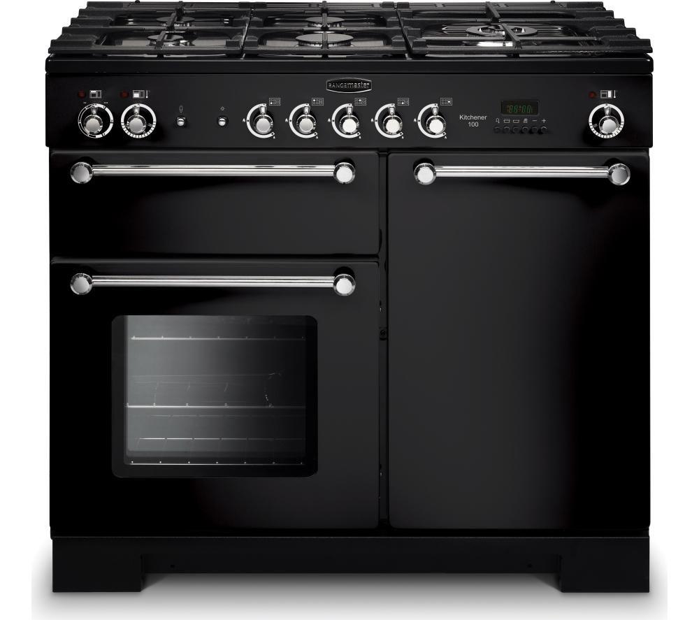 RANGEMASTER Kitchener 100 Dual Fuel Range Cooker - Black & Chrome