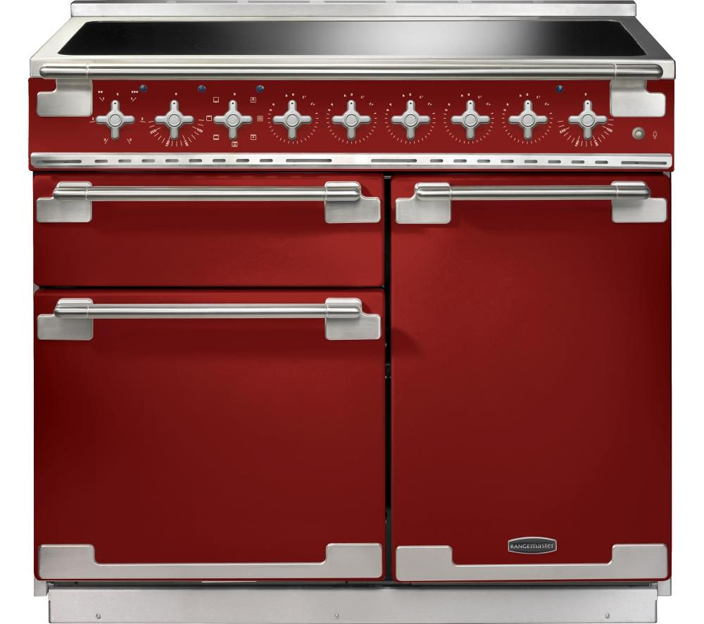 RANGEMASTER Elise 100 Electric Induction Range Cooker - Red & Chrome