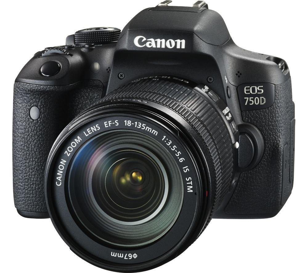 Image of CANON EOS 750D DSLR Camera with EF-S 18-135 mm f/3.5-5.6 IS STM Zoom Lens, Black
