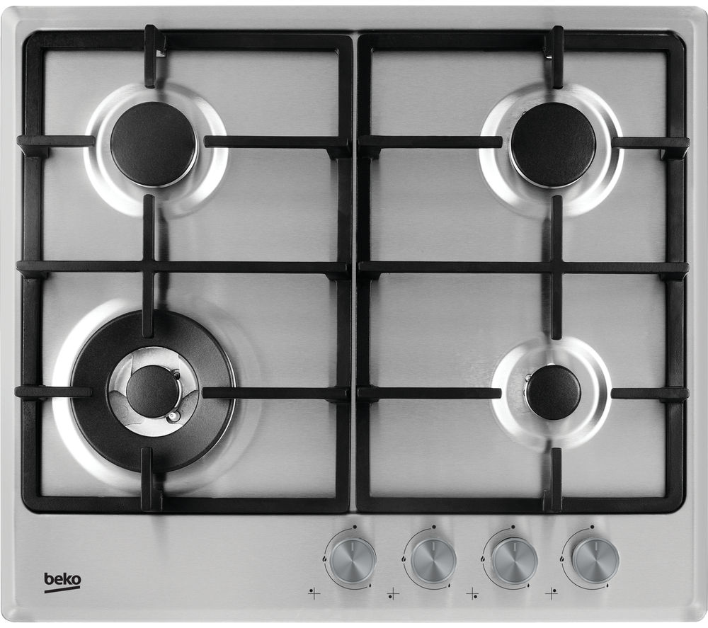 BEKO HCMW64225SX Gas Hob - Stainless Steel + HB60PX Chimney Cooker Hood - Stainless Steel