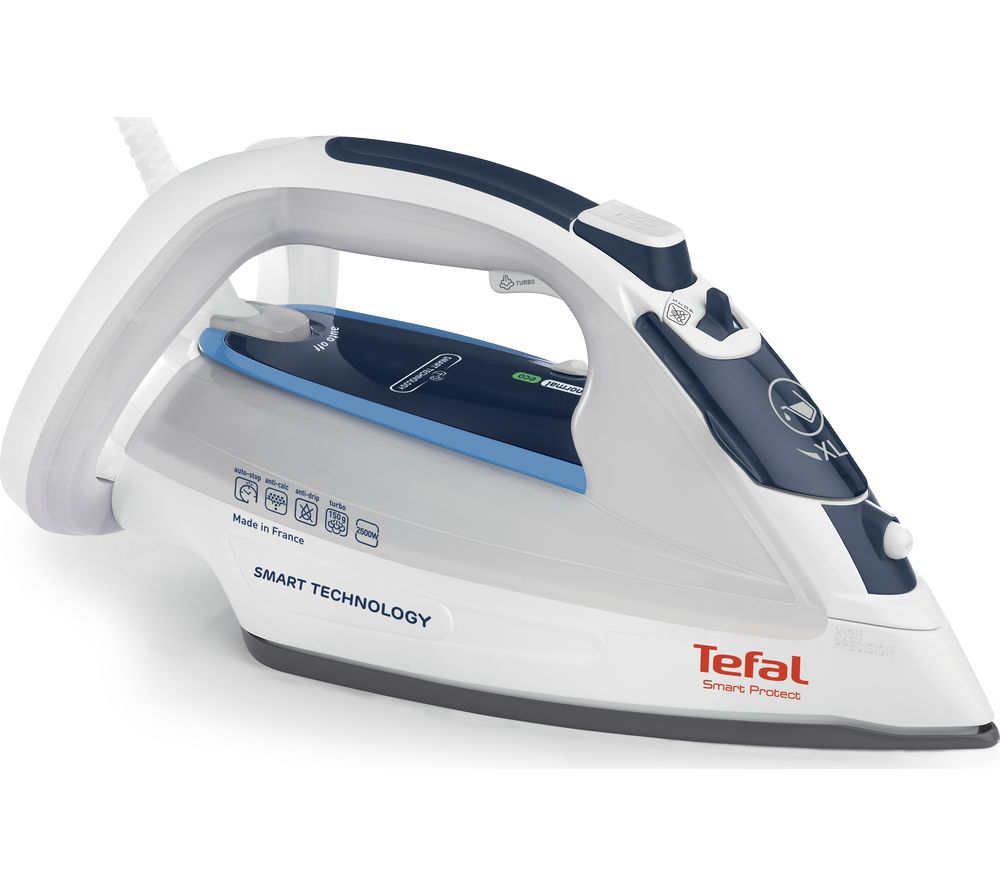 buy tefal smart protect fv4970 steam iron white blue free delivery currys. Black Bedroom Furniture Sets. Home Design Ideas