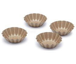 PAUL HOLLYWOOD PHMINIBAKE03 Non-stick Mini Round Fluted Tart Tins - Set of 4, Gold