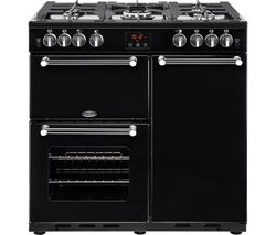 BELLING Kensington 90G Gas Range Cooker - Black & Chrome