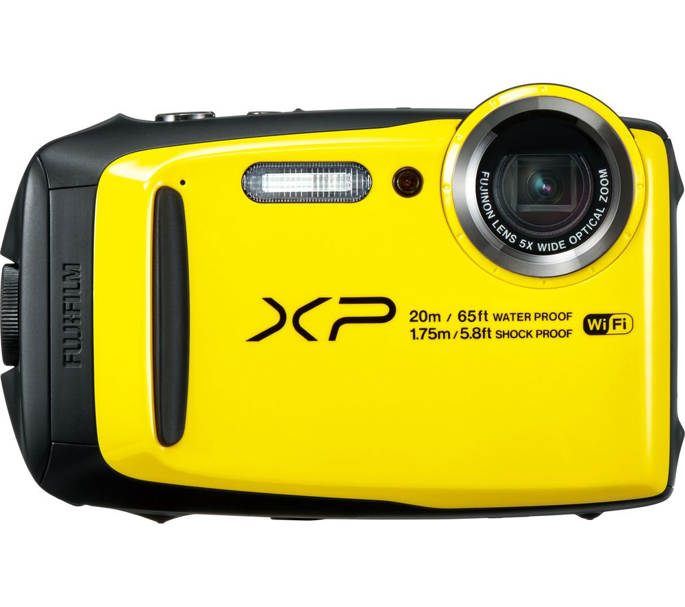 FUJIFILM XP120 Tough Compact Camera - Yellow + Camera Case - Black + Extreme Plus Class 10 SD Memory Card Twin Pack - 16 GB