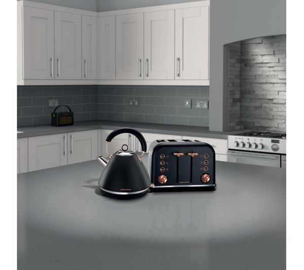 Morphy Richards Accents 242104 4 Slice Toaster Black Rose Gold