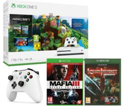 MICROSOFT Xbox One S, Minecraft, Killer Instinct Combo Breaker Pack, Mafia III Deluxe Edition & Controller Bundle