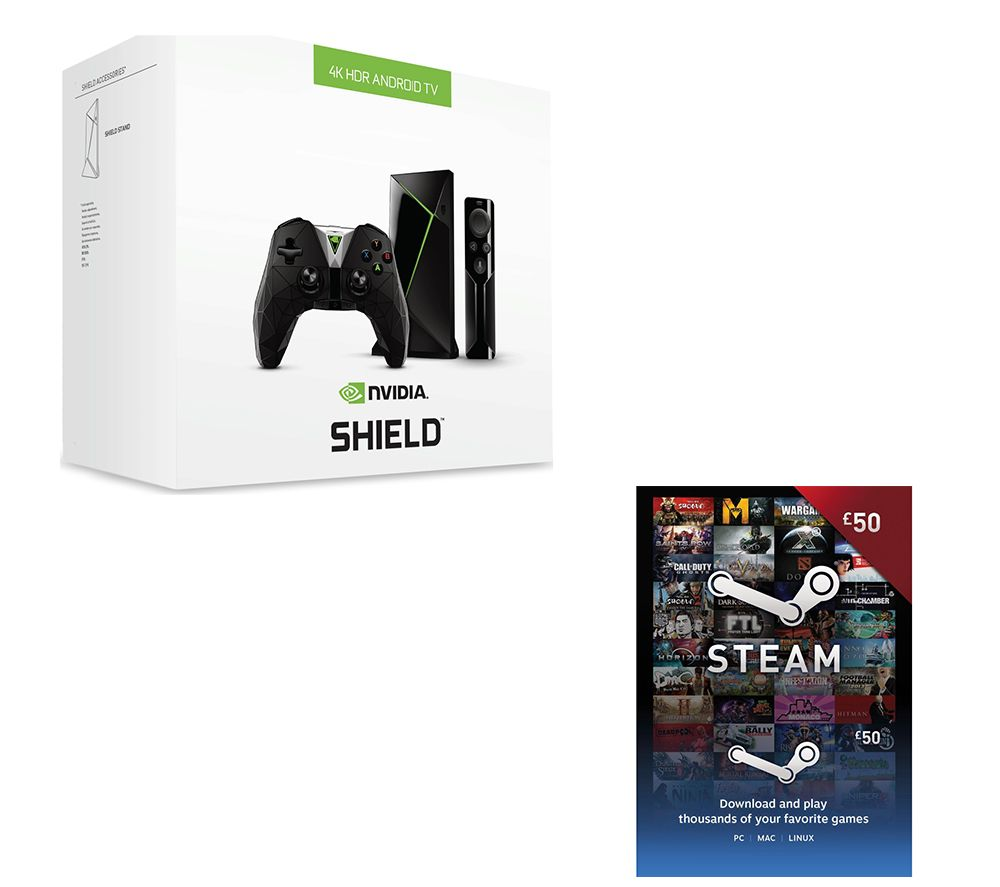 NVIDIA SHIELD 4K Media Streaming Device, Controller & £50 Steam Wallet Card Bundle - 16 GB