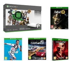 MICROSOFT Xbox One X, Game Pass, LIVE Gold Membership, Project Cars 2, Fallout 76, Tekken 7 & FIFA 19 Bundle
