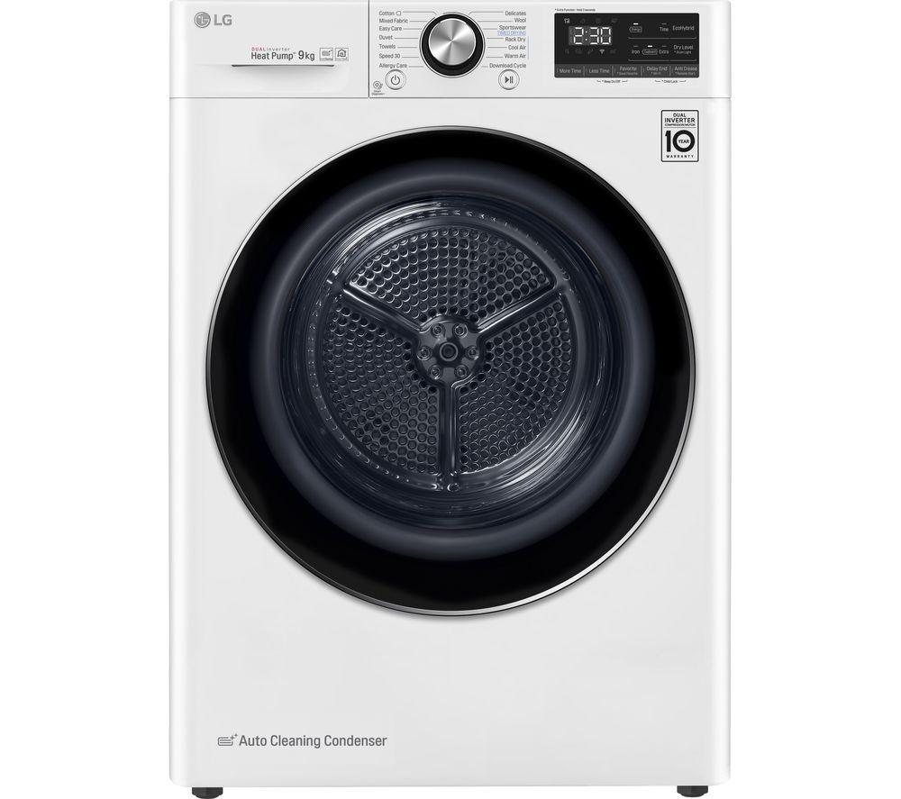 LG FDV909W WiFi-enabled 9 kg Heat Pump Tumble Dryer - White