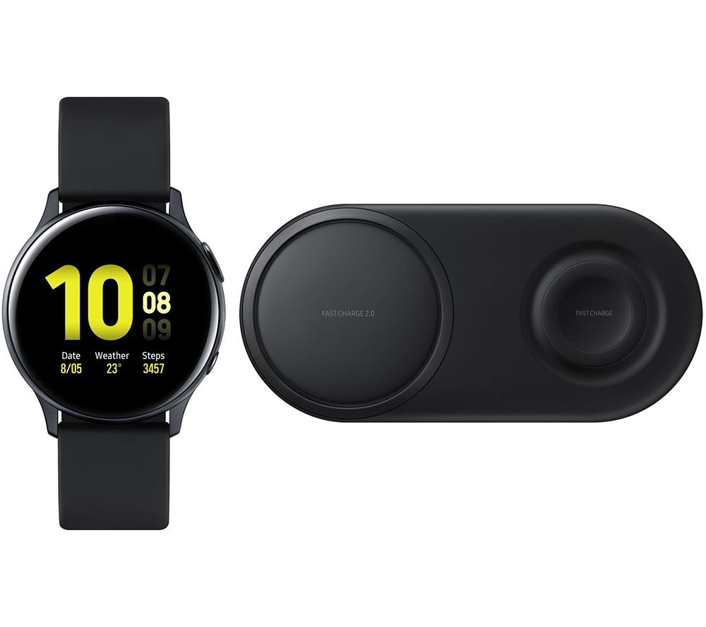 SAMSUNG Galaxy Watch Active2 & Black EP-P520 Qi Wireless Duo Charging Pad Bundle - Black Aluminium, 40 mm