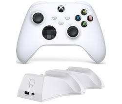 Xbox Wireless Controller & Venom Xbox Series X/S Twin Docking Station Bundle - Robot White