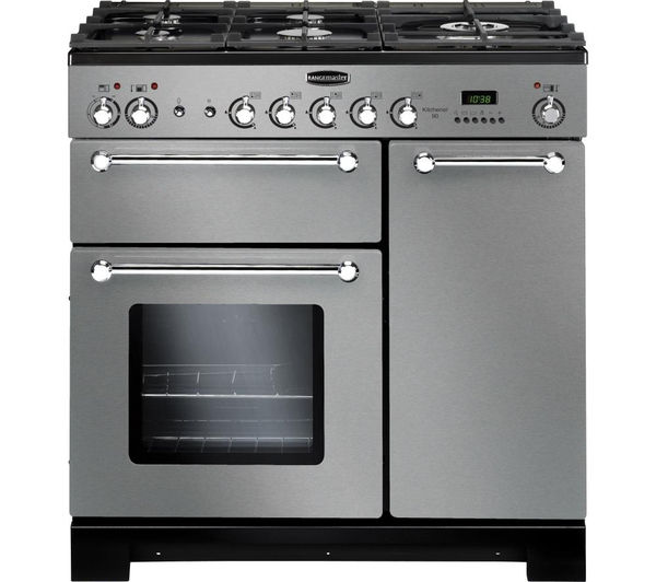 buy rangemaster kitchener 90 dual fuel range cooker stainless steel chrome free delivery. Black Bedroom Furniture Sets. Home Design Ideas