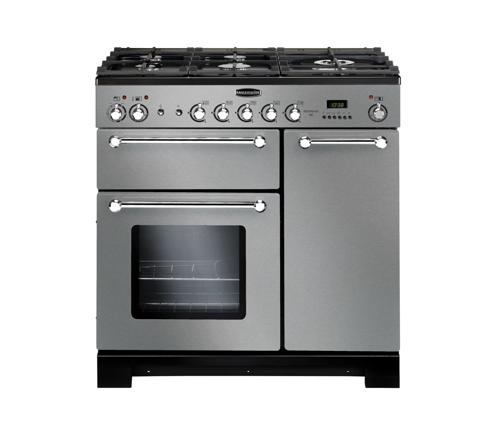 RANGEMASTER Kitchener 90 Dual Fuel Range Cooker - Stainless Steel & Chrome