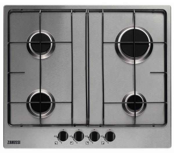 ZANUSSI ZGG65414XA Gas Hob - Stainless Steel + ZHC6234X Chimney Cooker Hood - Stainless Steel