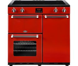 BELLING Kensington 90 cm Electric Induction Range Cooker - Red & Chrome Best Price, Cheapest Prices