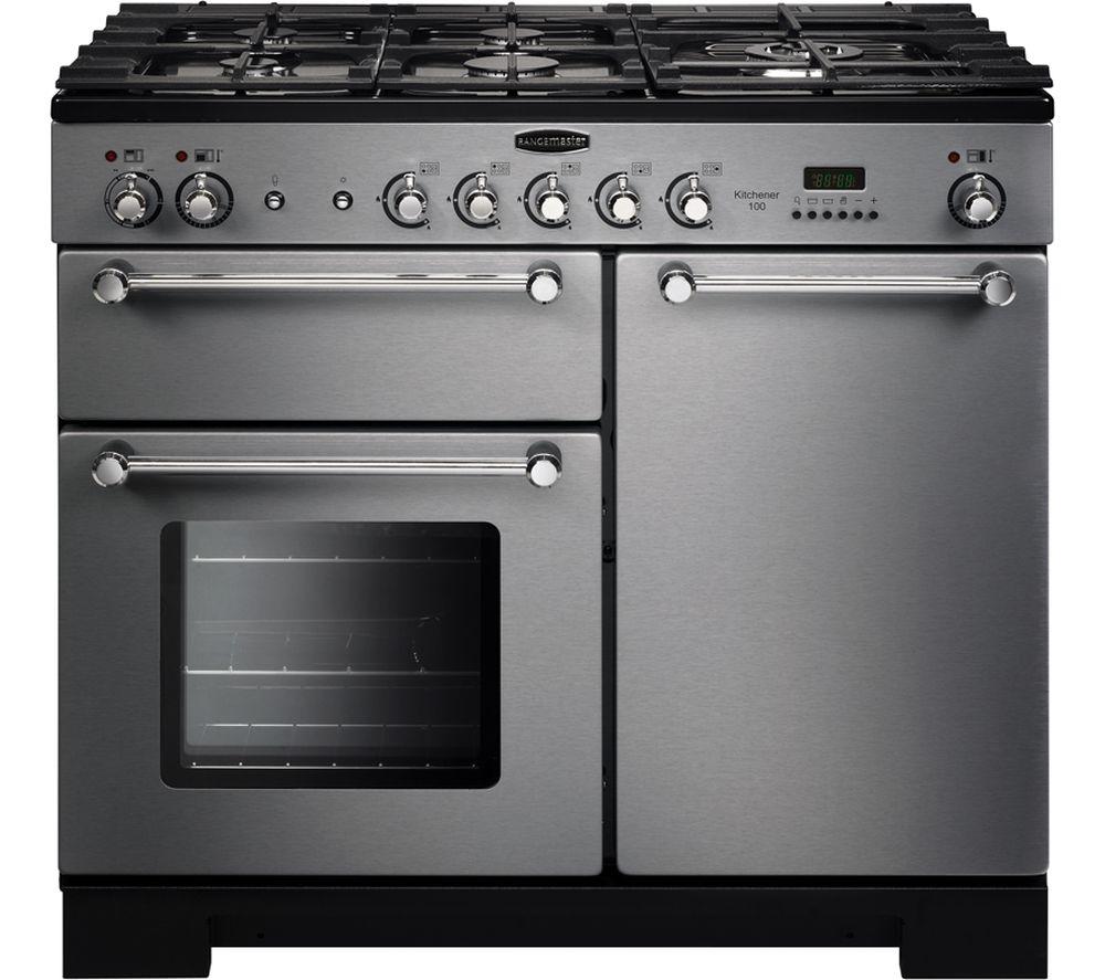 RANGEMASTER Kitchener 100 cm Dual Fuel Range Cooker - Stainless Steel