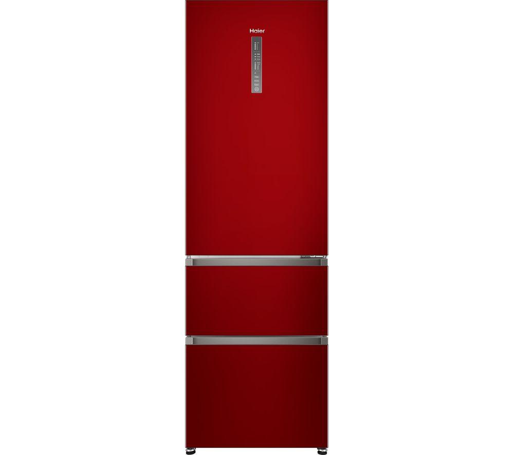 HAIER A3FE635CRJ 70/30 Fridge Freezer - Red, Red