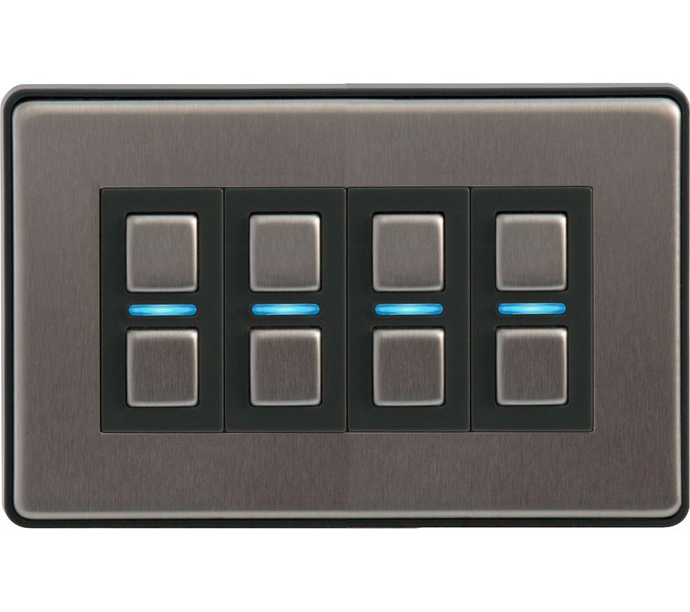 LIGHTWAVE Smart Series 4 Gang Dimmer Switch - Stainless Steel