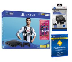 SONY PlayStation 4 500 GB with FIFA 19, Wireless Controller, Twin Docking Station & 3 Month Subscription Bundle