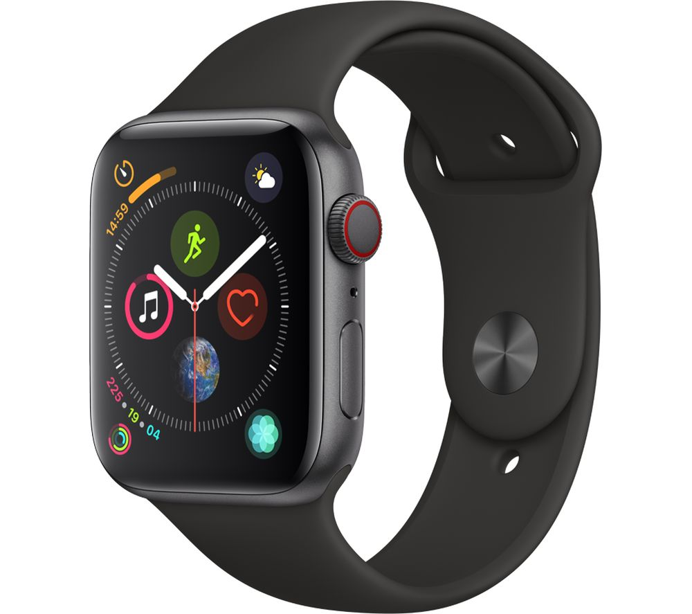APPLE Watch Series 4 Cellular - Space Grey & Black Sports Band, 44 mm