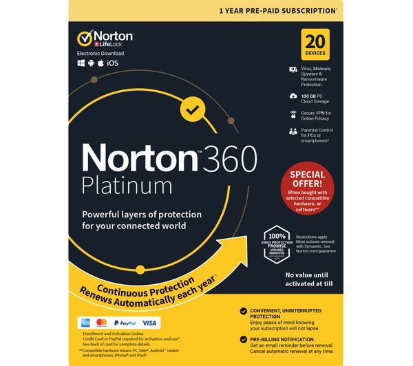 Image of NORTON 360 Platinum - 1 year for 20 devices