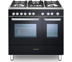 KENWOOD CK407G 90 cm Gas Range Cooker - Black & Chrome Best Price, Cheapest Prices