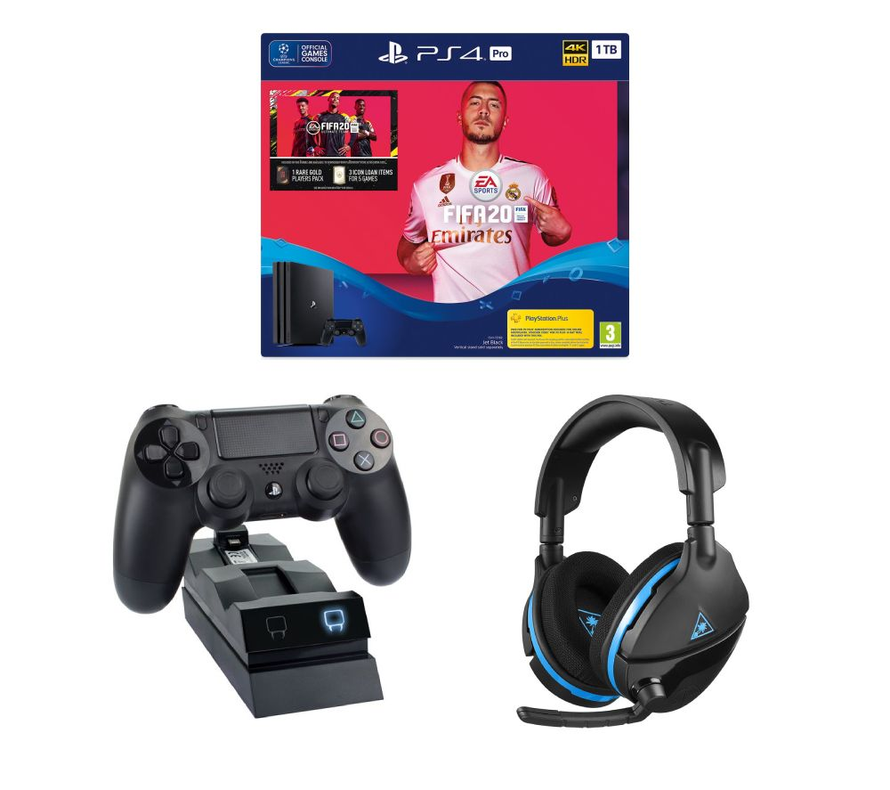 SONY Playstation 4 Pro with FIFA 20, Twin Docking Station & Gaming Headset Bundle - 1 TB, Black