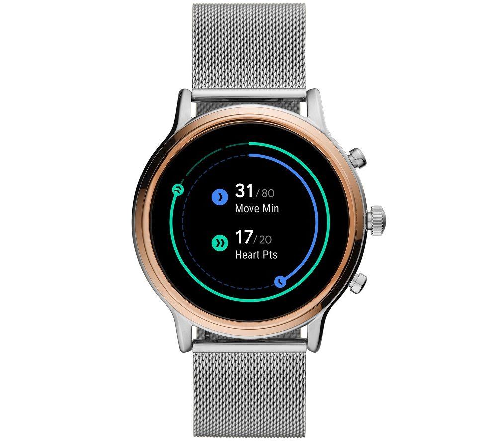FOSSIL Julianna HR FTW6061 Smartwatch - Silver, Stainless Steel Strap, 44 mm