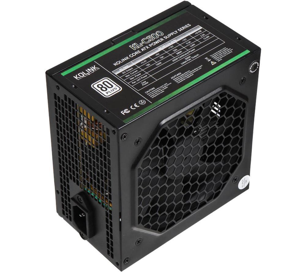 Image of Kolink Core Series 500W 120mm Automatic Control Fan 80 PLUS Certified PSU UK Plug