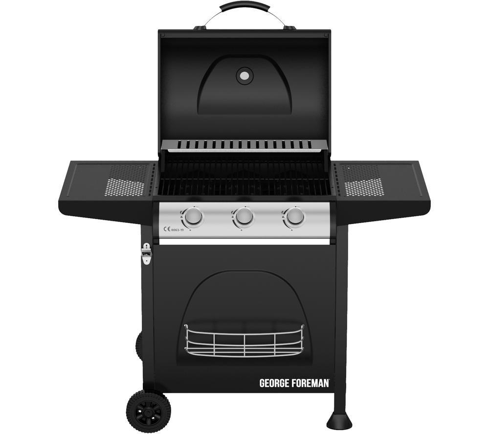 GEORGE FOREMAN GFGBBQ3B Portable 3 Burner Grill Gas BBQ - Black