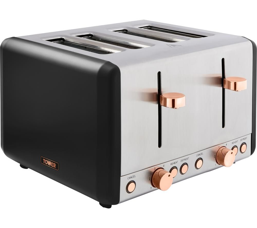 Image of TOWER Cavaletto T20051RG 4-Slice Toaster - Black & Rose Gold, Black
