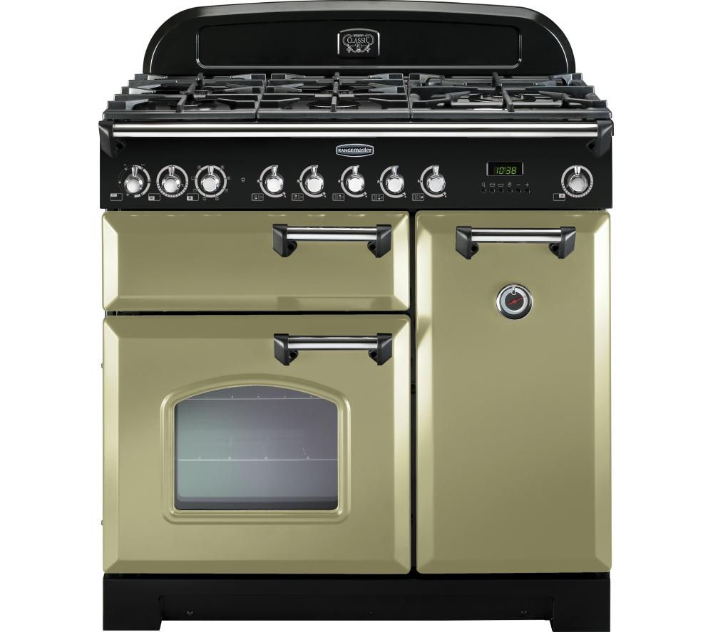 RANGEMASTER Classic Deluxe 90 Dual Fuel Range Cooker - Olive Green & Chrome