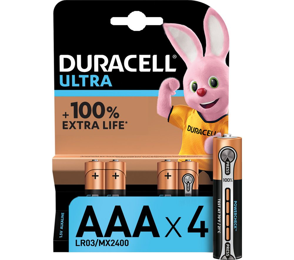 DURACELL LR03/MX2400 Ultra Power AAA Alkaline Batteries - Pack of 4