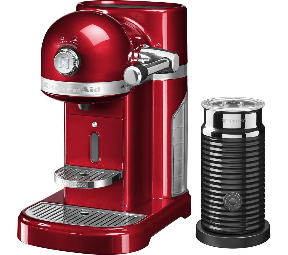 NESPRESSO by KitchenAid Artisan 5KES0504BCA Coffee Machine with Aeroccino 3 - Candy Apple
