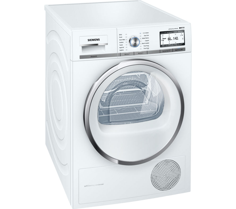 buy siemens wt4hy790gb heat pump smart tumble dryer white free delivery currys. Black Bedroom Furniture Sets. Home Design Ideas