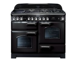RANGEMASTER Classic Deluxe 110 Dual Fuel Range Cooker - Black & Chrome