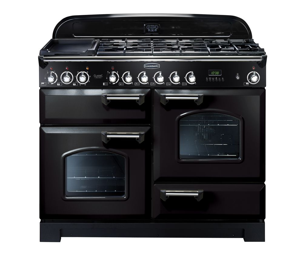 Image of Rangemaster Classic Deluxe 110 Dual Fuel Range Cooker - Black & Chrome, Black