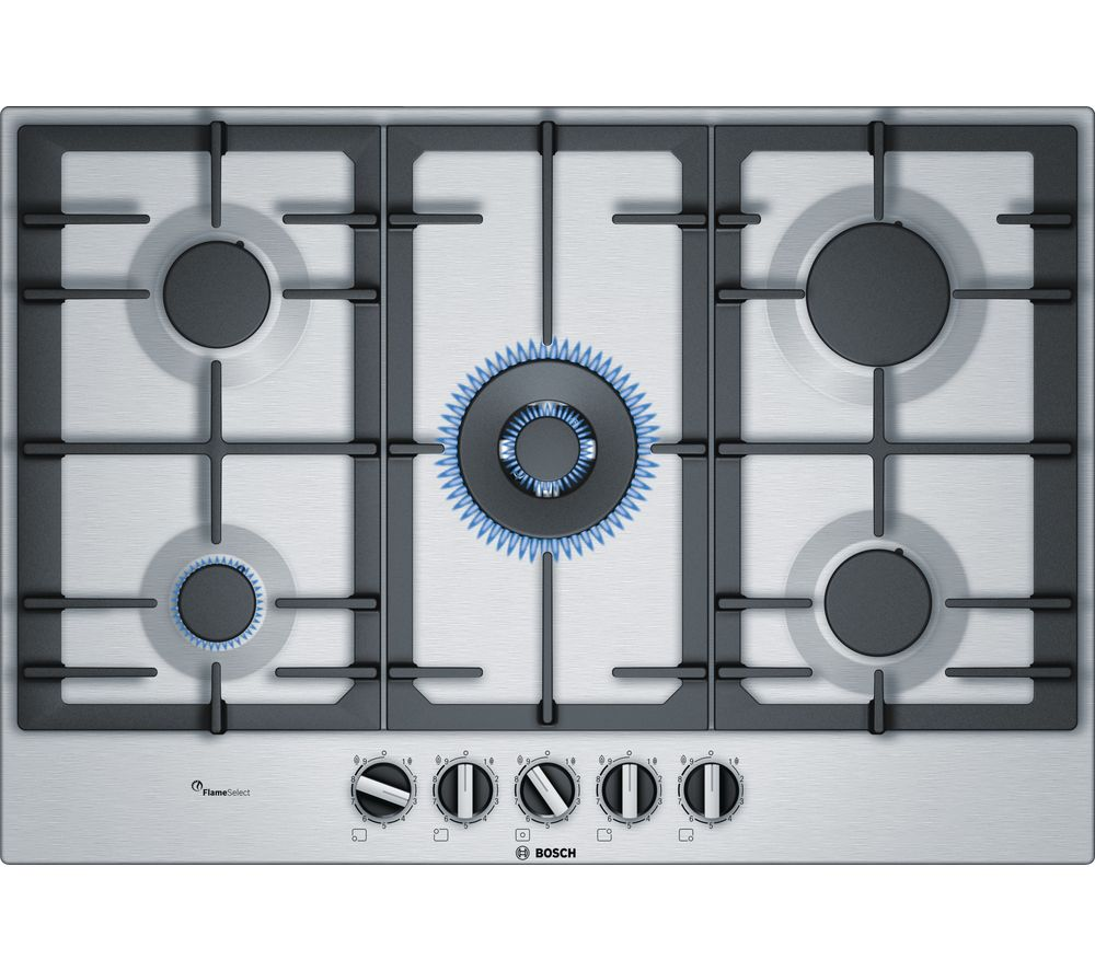 BOSCH Serie 6 PCQ7A5B90 Gas Hob – Stainless Steel, Stainless Steel