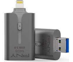 PNY DUO-LINK USB 3.0 & Lightning Dual Memory Stick - 64 GB, Grey