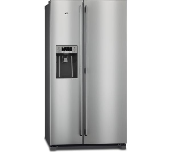 Image of AEG RMB76111NX American-Style Fridge Freezer - Grey & Stainless Steel