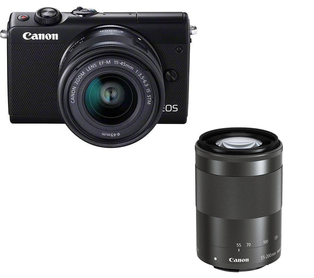 CANON EOS M100 Mirrorless Camera with EF-M 15-45 mm f/3.5-6.3 IS STM & 55-200 mm f/4.5-6.3 IS STM Lens + Extreme Plus Class 10 SDXC Memory Card - 128 GB