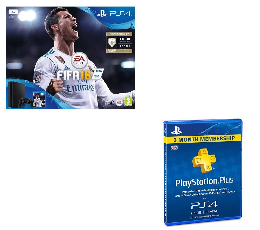SONY PlayStation 4 Slim, FIFA 18 & PlayStation Plus 3 Month Subscription Bundle