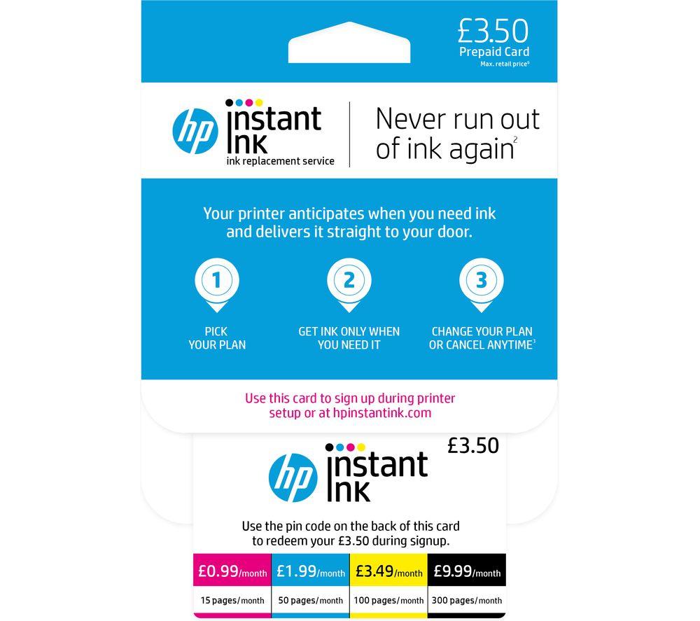 HP Instant Ink £3.50 Prepaid Card