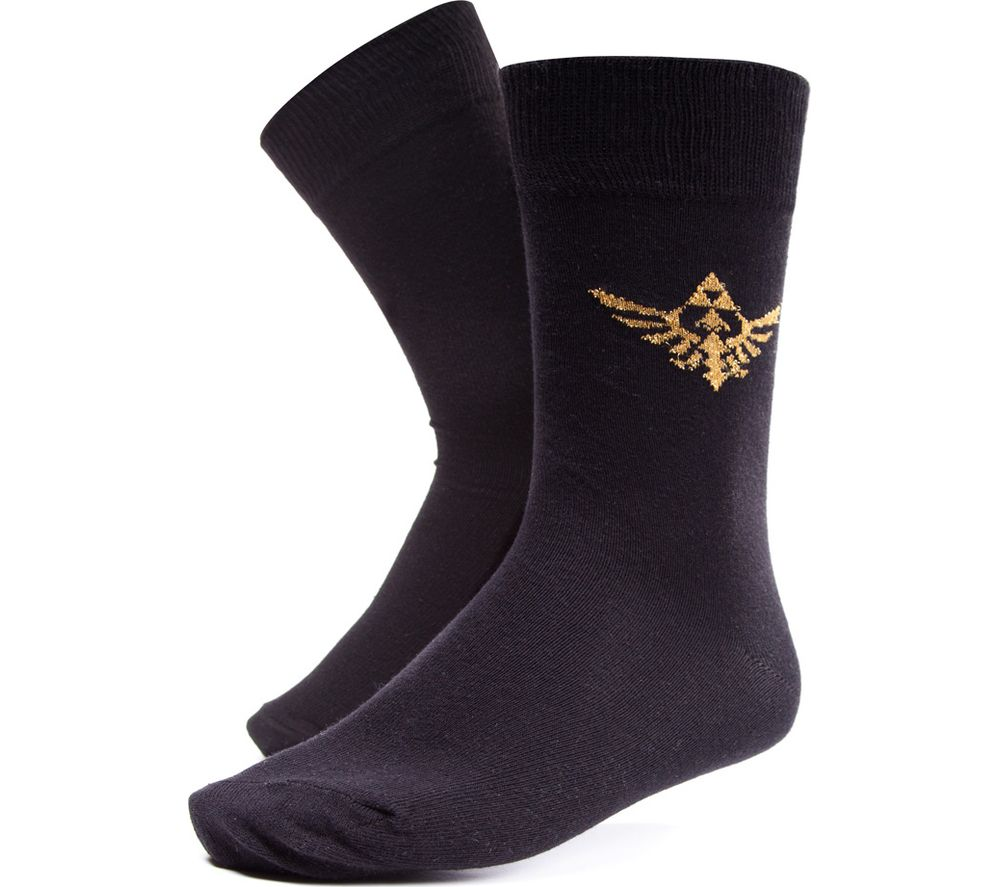 NINTENDO Zelda Golden Triforce Socks - 6-8, Black
