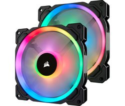 Image of CORSAIR LL140 140 mm Case Fan with Lighting Node PRO - Twin Pack, RGB LED