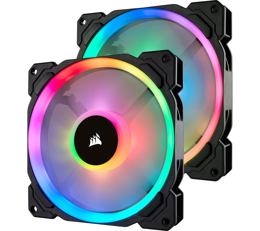 CORSAIR LL140 140 mm Case Fan with Lighting Node PRO - RGB LED, Twin Pack