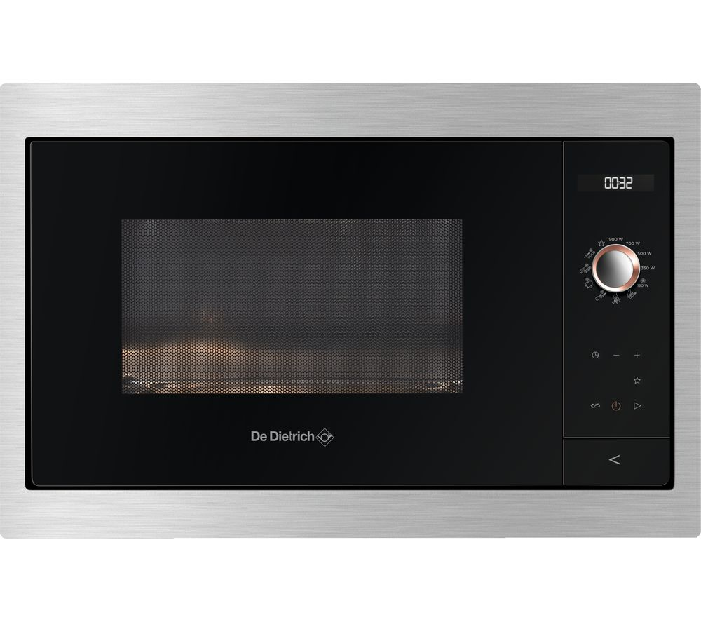 Image of DE DIETRICH DME7121X Built-in Compact Solo Microwave - Black & Silver, Black